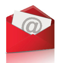 Illustrated red email envelope.