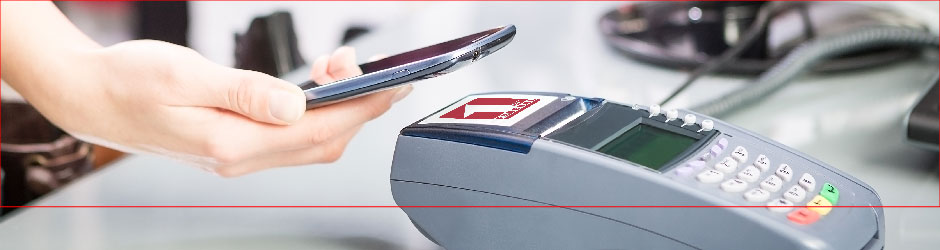 Closeup of a mobile payment being made.